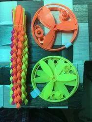 Lemon, Orange. Pink five star Thread Wheel(flying Toy), 4-6 Yrs