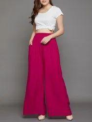 Pink Long Ladies Rayon Palazzo