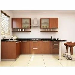 Brown U Shaped PVC Kitchen Cabinet