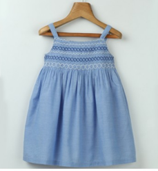 Blue Chambray Smocked Dress