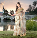 Net Border Designer Sarees With Blouse Piece
