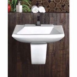 White Ceramic Half Pedestal Wash Basin