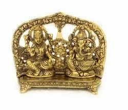 Gold Plated Metal Laxmi Ganesh Statue for Diwali Gifts