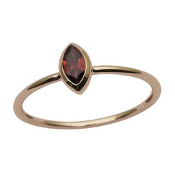 9 ct Yellow Gold Garnet Marquise Bezel Set Solitaire Engagement Ring