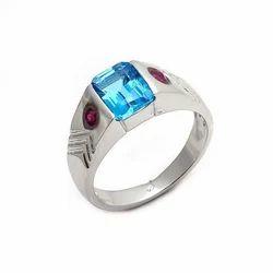 Blue Topaz & Ruby Natural Gemstone 925 Sterling Silver Mens Rings Forever