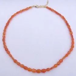 Natural Orange Carnelian Stone Faceted Oval Beads Strand Necklace With Silver Hook