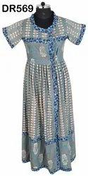 Cotton Hand Block Printed Women's Long Wrap Dress DR569
