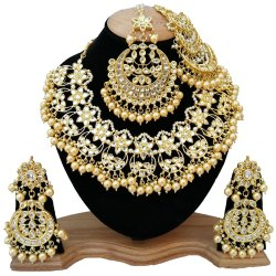 Imitation Golden Bridal Kundan Necklace, Occasion: Wedding, Size: Small