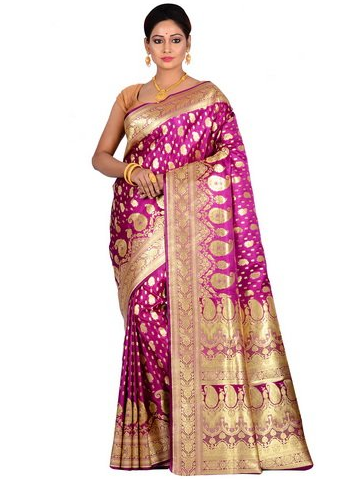 0bbb5810c63f42 Purple Banarasi Silk Zari Woven Paisley Butta Style Saree at Rs 3950 ...