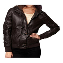Dark Brown Full Sleeve Ladies Fashion Leather Jacket
