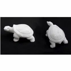 White Alabaster Stone Tortoise Hand Carved Decorative Turtle Small Size
