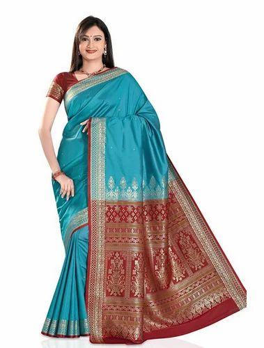 e1b0516e5f825f Party Wear Jaanvi Fashion Women Banarasi Silk Saree Blue
