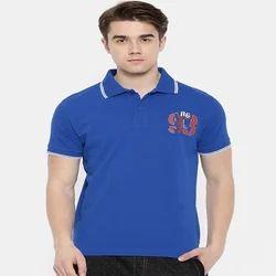Masculino Latino Collar Blue Polo Shirt