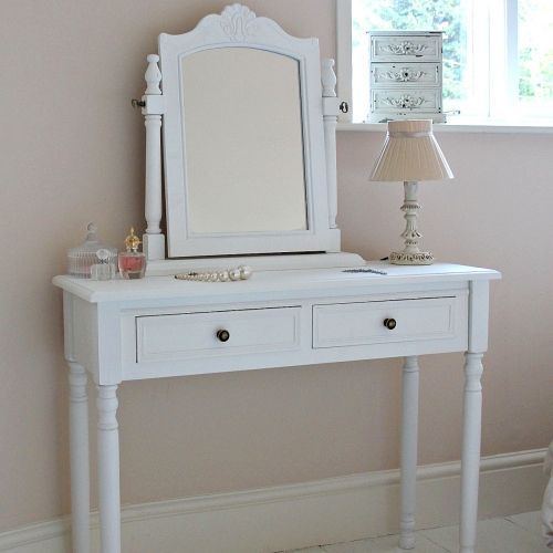 White Wooden Mirror Dressing Table