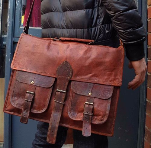 Genuine Leather Collage Laptop Office Messenger Bag For Girl Boy   Men Women 54d050b1d8bfc