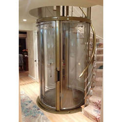 Stainless Steel And Glass Circular Glass Lift G 5 Maximum Person