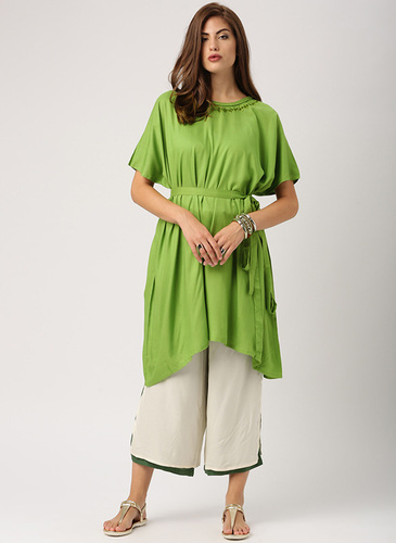 65ce7cf6356b80 Indusdiva Olive Tunic Tops Tunics for Women Kaftan Style Tunic With Dropped  Shoulder And Embroidery Tunic