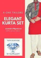Printed Cotton Men' s Elegant Kurta Set