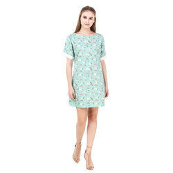 Cotton Fancy Designer Green Shift Dress, Size: S, M and L