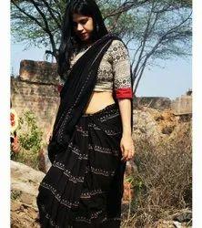 Hand Block  Printed Soft Cotton Saree