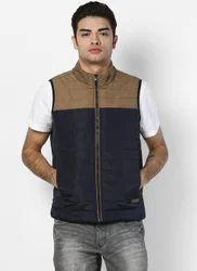 Navy Brown Solid Collar Jacket