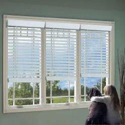 White Horizontal Wooden Window Roller Blinds