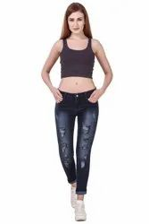 Mid Rise Button Cotton Dobby Pre Ripped Damaged Distressed Jeans, Waist Size: 26-32