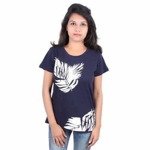 0999cc67 Georgette Round Neck Branded Ladies T Shirt, Rs 390 /piece | ID ...