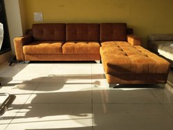 Tan Wood l Shape Sofa Set, 1 Year