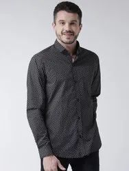 Black White 100%cotton Routeen Men's Casual Printed Shirts