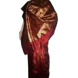 998eda2c2d8f88 Printed Light Grey Banarasi Silk Saree With Pink Blouse AFS111-1509 ...