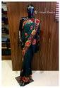Green Party Wear Aari Embroidered Saree