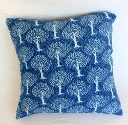 Indigo Hand Block Print Cotton Cushion Cover