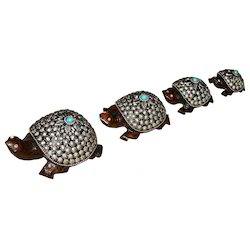 Wooden Tortoise Set With Metal Work