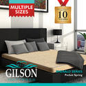 Grey And Cream Gilson Emerald Series 8 Inch Pocket Spring Mattress, 6 Inch