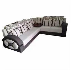 5 Seater Polyester Designer Corner Sofa Set, Back Style: Cushion back