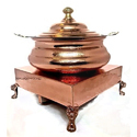 Metal Kraft Copper Hammered Hyatt Handi Chowki Set, Packaging Type: Box