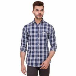 Navy Blue Cotton Checks Shirts