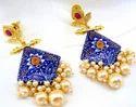 Kumar Jewels Ethnic Elegant Enamel Worked Pearl Droplets Kundan Earrings
