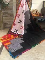 Bagru Hand Print Pom Pom Lace Cotton Mulmul Saree