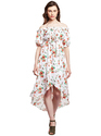 Printed Western Wear Beautiful Designer Summer Cool Off White Asymetric Dress