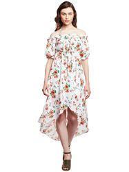 Printed Western Wear Beautiful Designer Summer Cool Off White Asymetric Dress