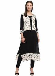 Spoorthi Women's Rayon Printed Jacket Kurta