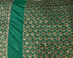 Green Sequin Embroidered Fabric