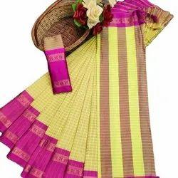 Cotton Silk Chex Weaving Designer Saree