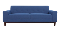 Denim Blue Color Three Seater Sofa with Wooden Legs