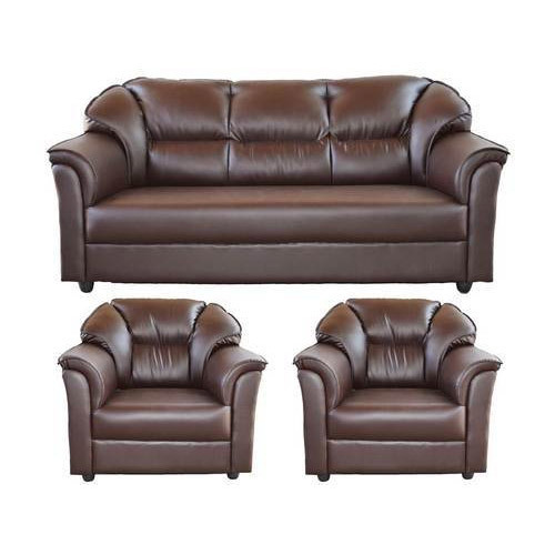 5 Seater Brown Leather Sofa Set