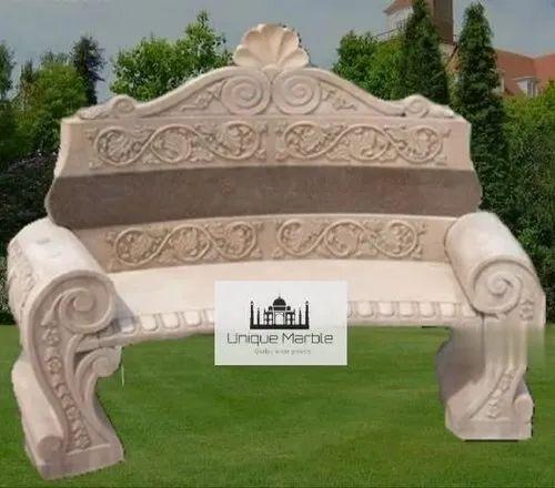 Sandstone Carved Garden Sofa, Size: 5 Feet