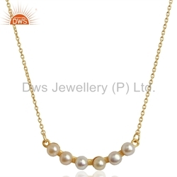 Natural Pearl 925 Silver Gold Plated Chain Necklace