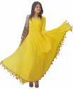 Beautiful Georgette Yellow Lashkara Anarkali Dress with For Women